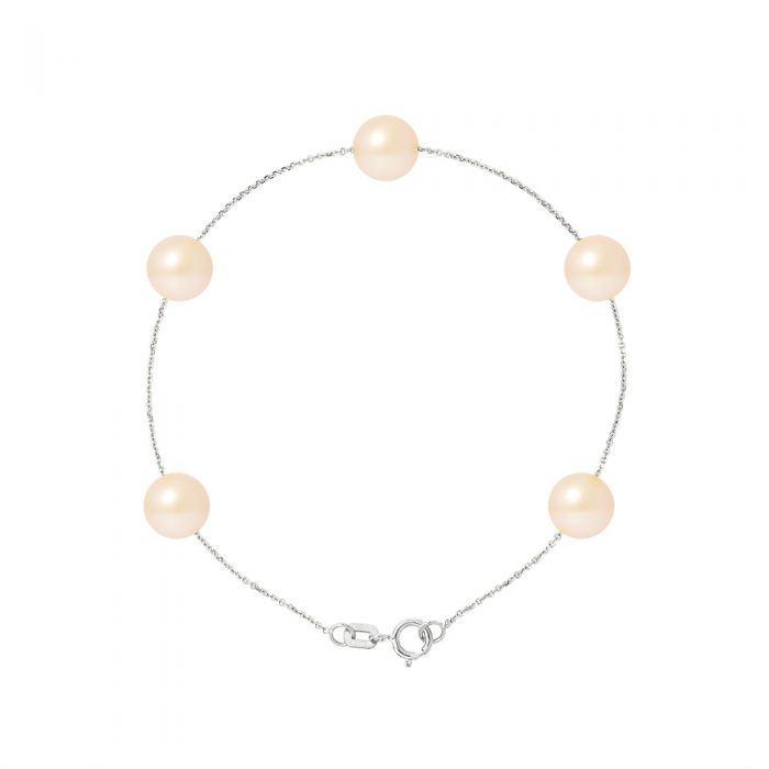 Image for 5 AA Natural Pink Freshwater Pearls Bracelet and 750/1000 White Gold