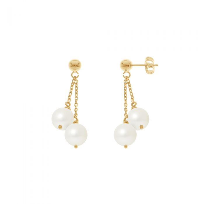 Image for Double White Freshwater Pearls Dangling Earrings and yellow gold 750/1000