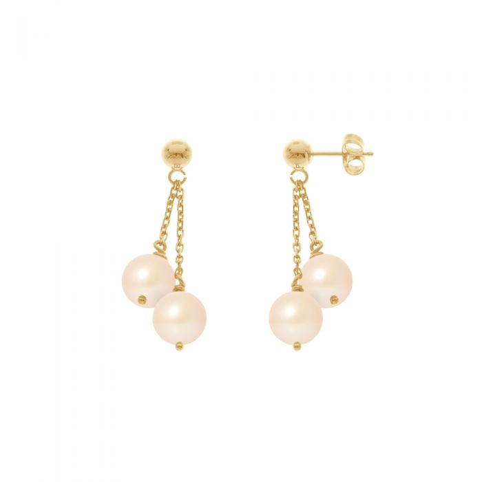 Image for Double Natural Pink Freshwater Pearls Dangling Earrings and yellow gold 750/1000