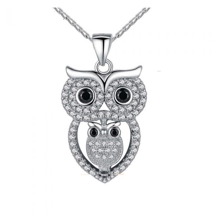 Image for Swarovski crystals mother owl pendant
