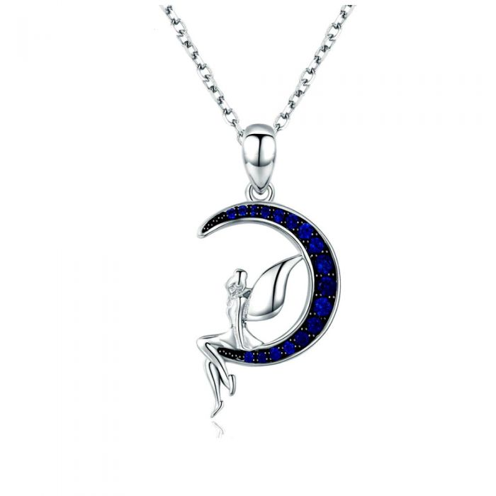 Image for Blue Swarovski crystals fairy and moon pendant