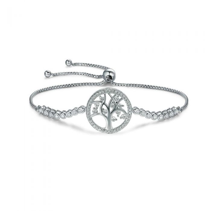 Image for White Swarovski crystals and sterling silver tree of life bracelet