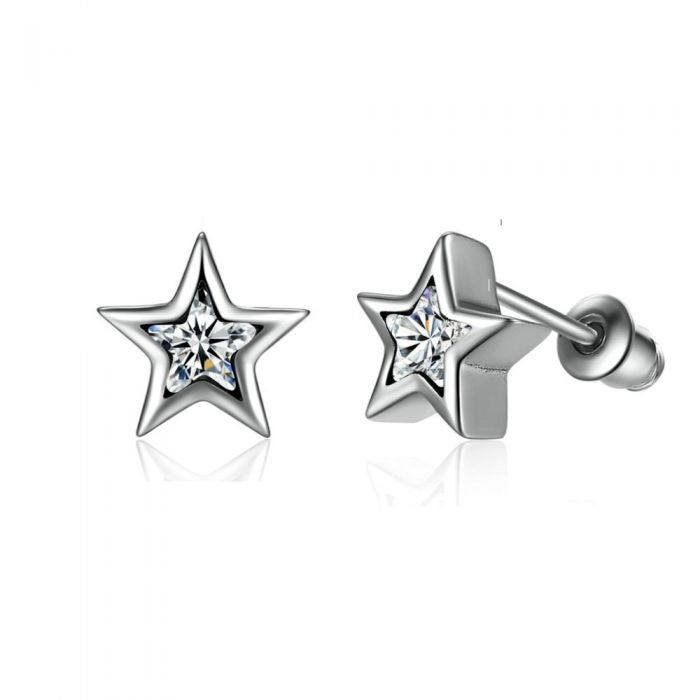 Image for White Swarovski crystals and sterling silver stars earrings