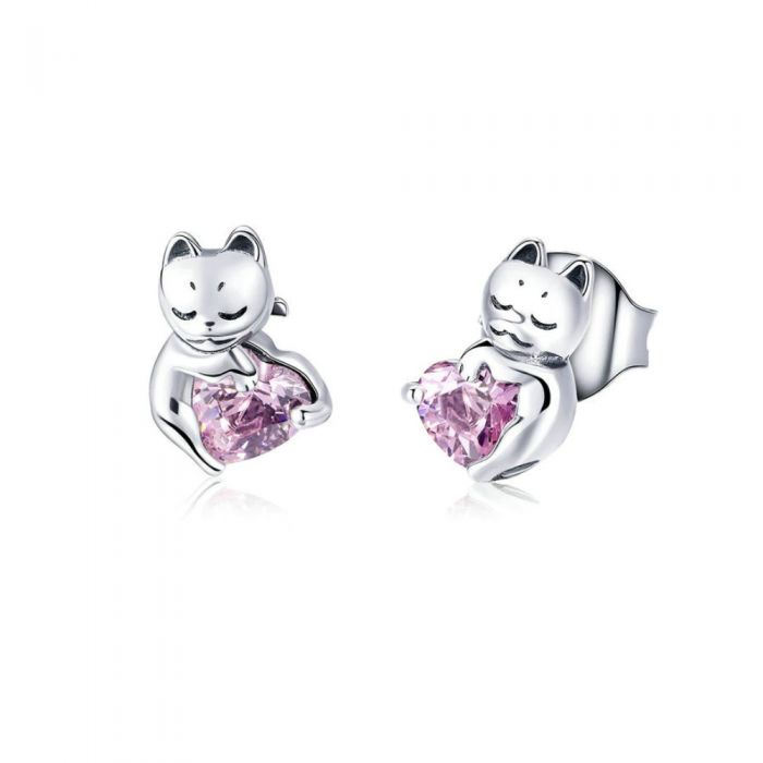 Image for Pink Swarovski crystals and sterling silver cat earrings