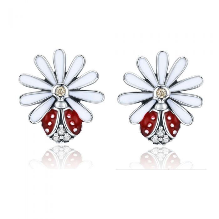 Image for Silver flower and ladybug earrings