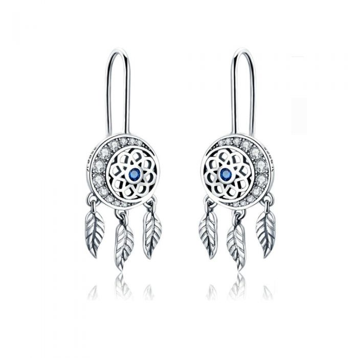 Image for White and blue Swarovski crystals dream catcher dangling earrings