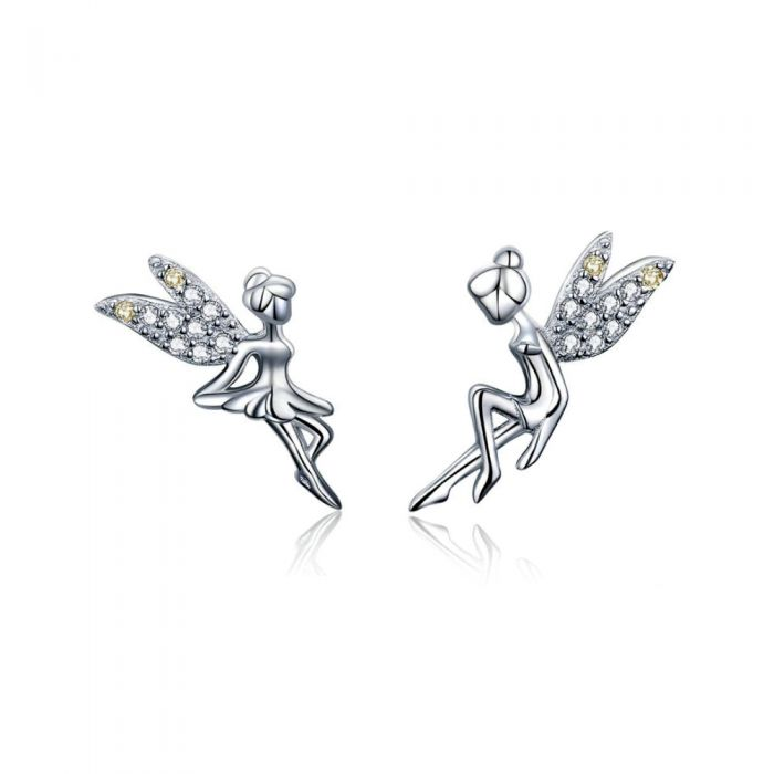 Image for White Swarovski crystals and sterling silver fairy earrings