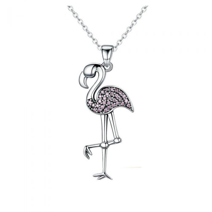 Image for Pink Swarovski crystals flamingo pendant