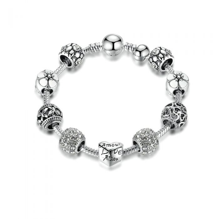 Image for Grey Swarovski crystals charm and beads heart bracelet