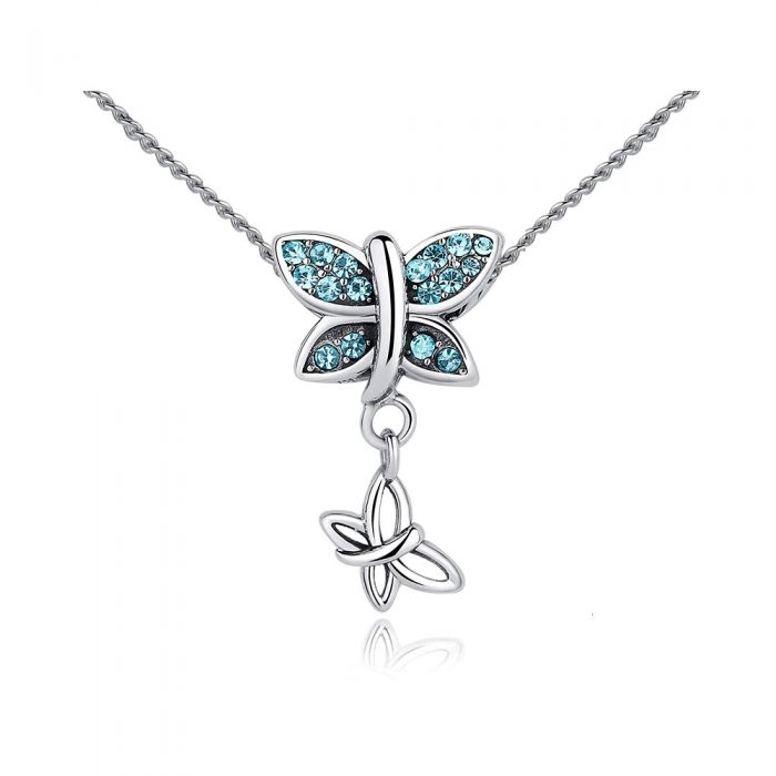 Image for Blue crystals butterfly necklace