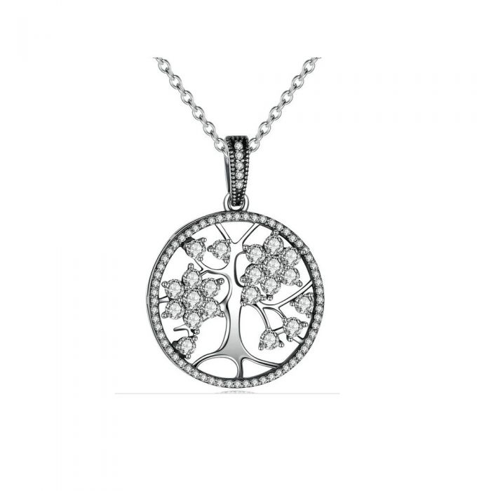 Image for White Swarovski crystals tree of life pendant