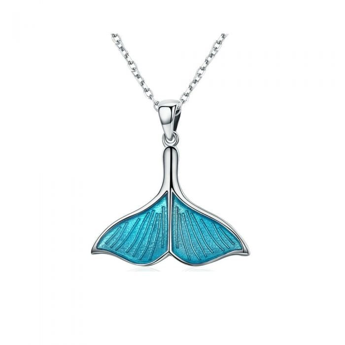 Image for Whale Tail Pendant in Blue Enamel and 925 Silver