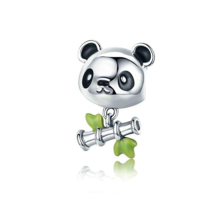 Image for 925 Sterling Silver Panda and Bamboo Bead Charms