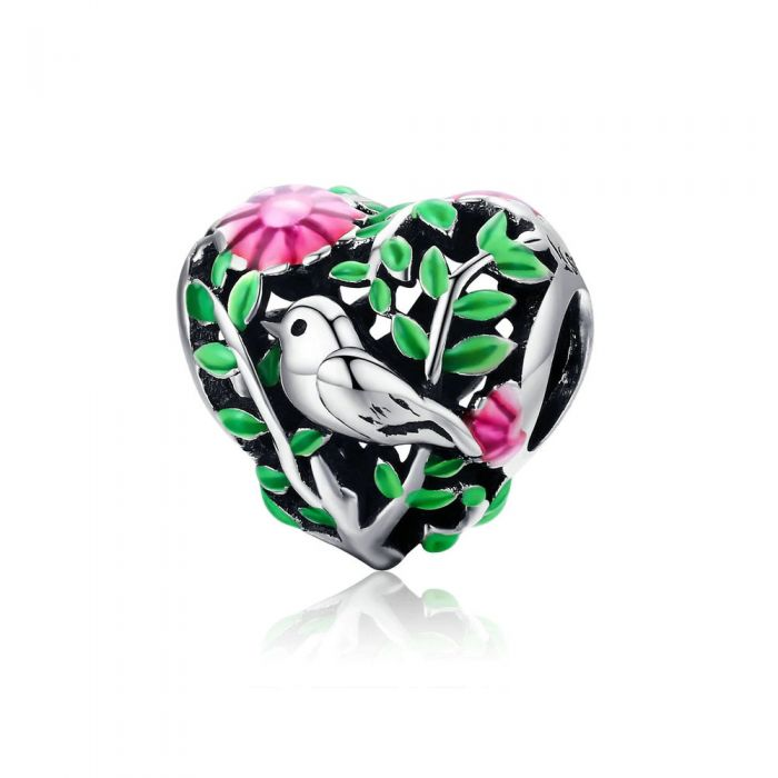 Image for 925 Sterling Silver and Enamel Bird and forest Bead