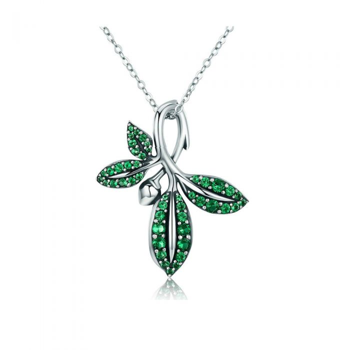 Image for Green Swarovski crystals leaves pendant