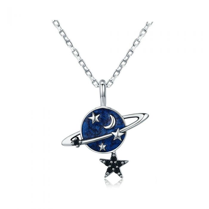 Image for Stars, Moon and Planet blue enamel and 925/1000 silver necklace