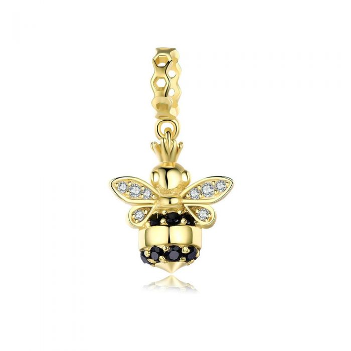 Image for 925 Sterling Silver and Yellow gold plated Bee Bead Charms