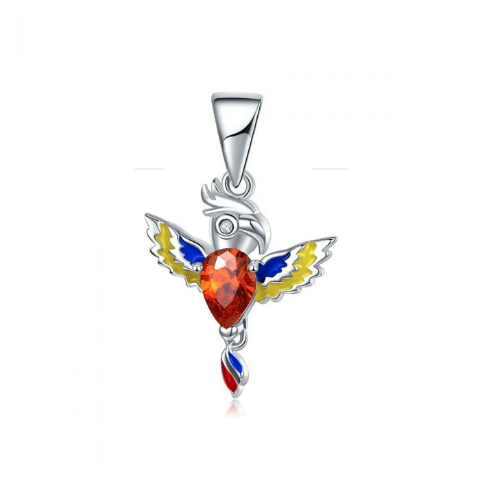 Image for 925 Sterling Silver Parrot Charms, Red Crystal and Enamel