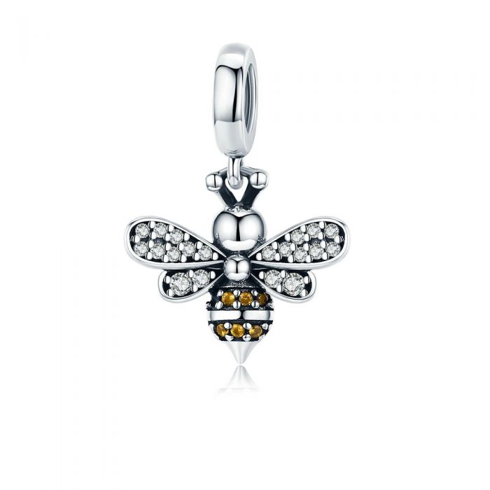 Image for Bee Pendant Charms in 925 Silver and White Crystal