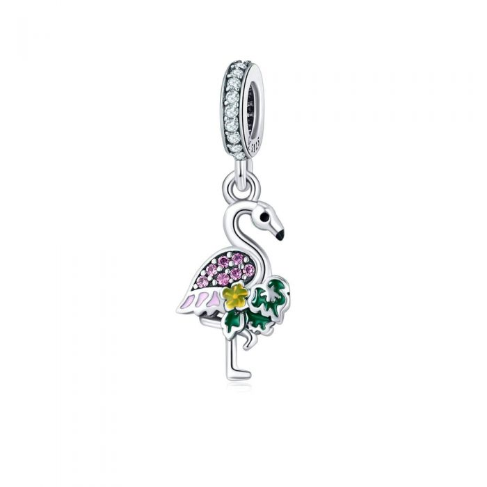 Image for Pink Flamingo Pendant Charms in 925 Silver and Pink Crystal