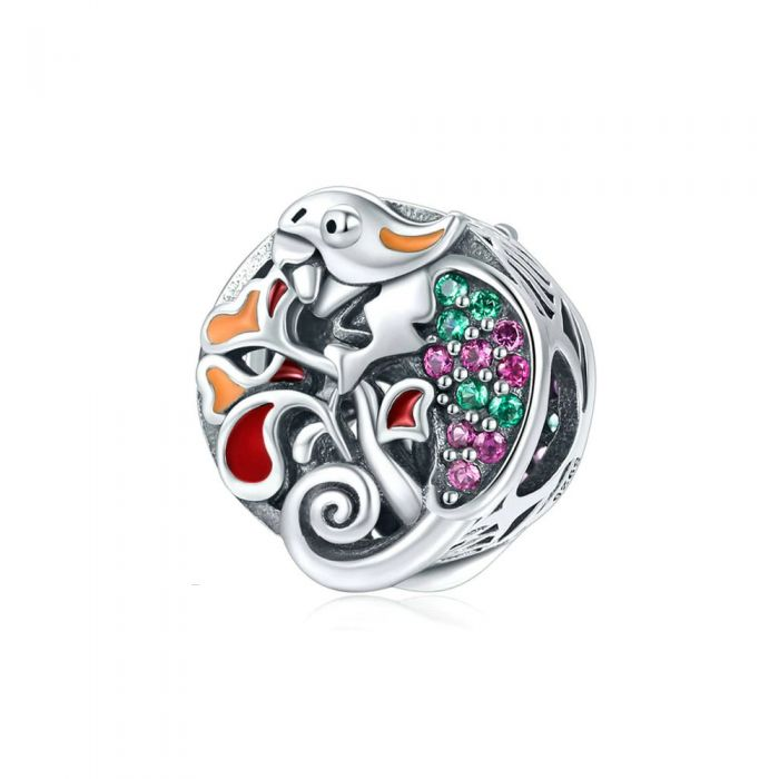 Image for 925 Sterling Silver and Enamel Iguana and forest Bead