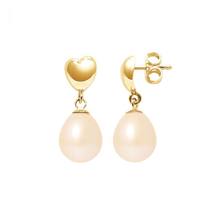 Image for Pink freshwater pearl hearts drop earrings