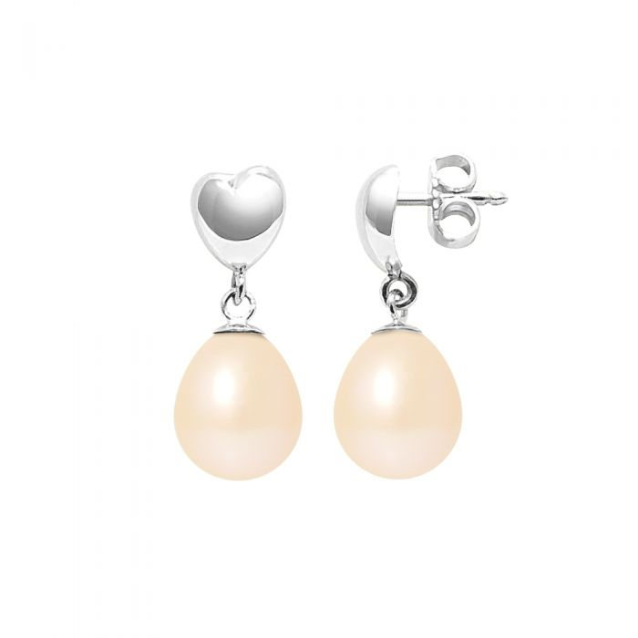 Image for Pink freshwater pearl heart drop earrings