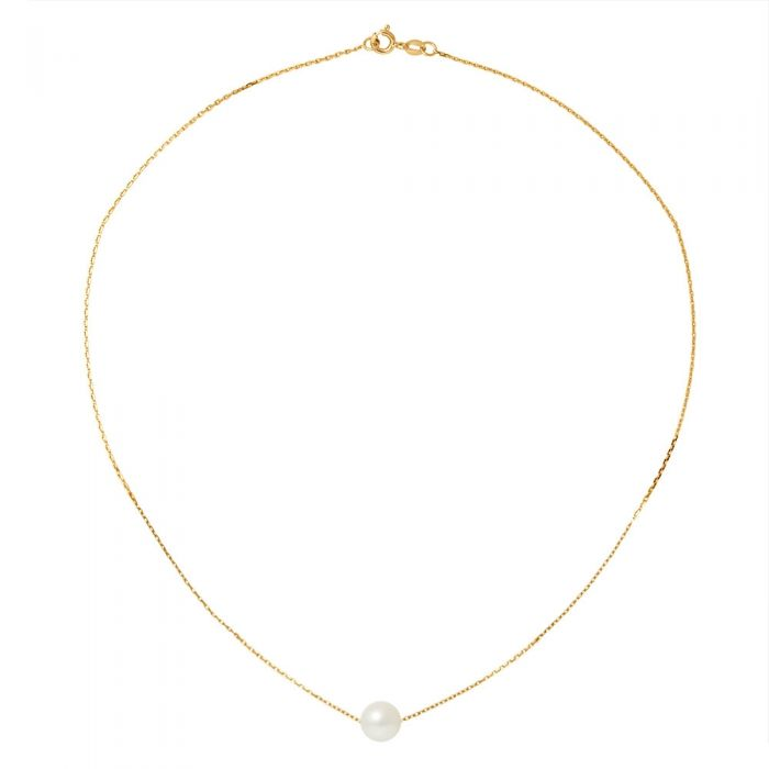 Image for Yellow gold chain and white freshwater cultured pearl choker necklace