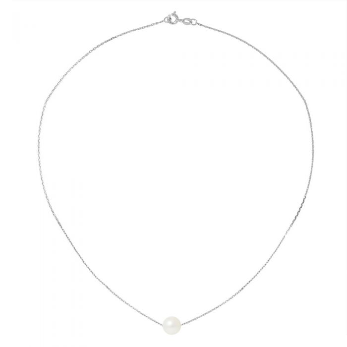 Image for White gold chain and white freshwater cultured pearl choker necklace