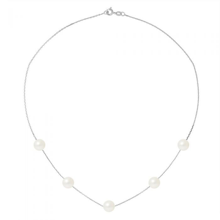 Image for 5 white freshwater pearls choker necklace