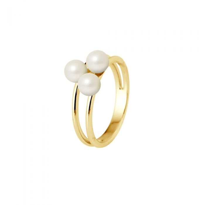Image for Ring 3 White Freshwater Cultured Pearls and 750/1000 Yellow Gold