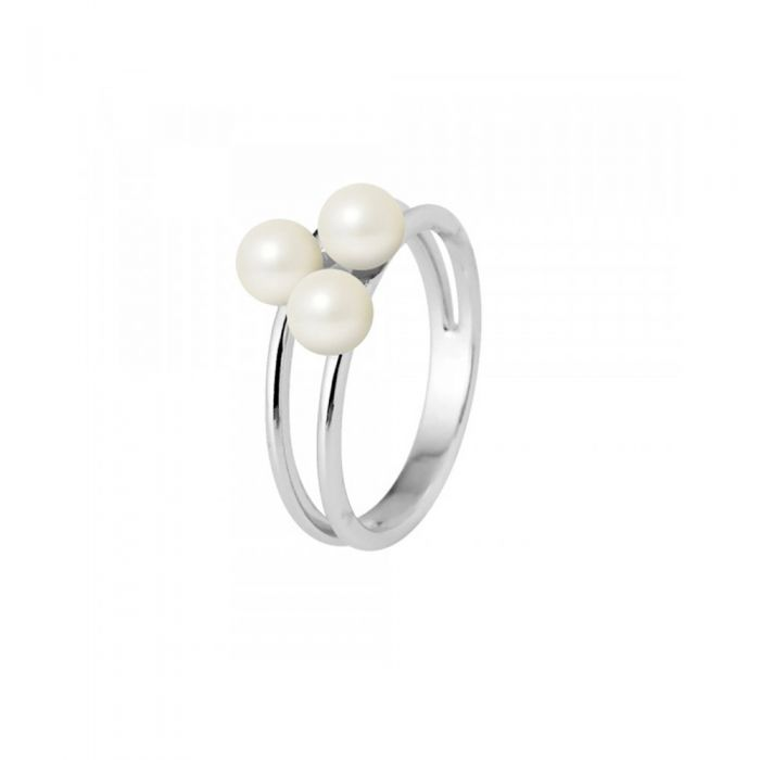 Image for Ring 3 White Freshwater Cultured Pearls and 750/1000 White Gold