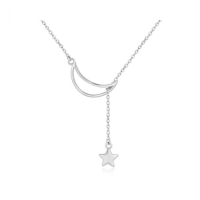Image for Moon and Star Pendant Necklace Silver 925