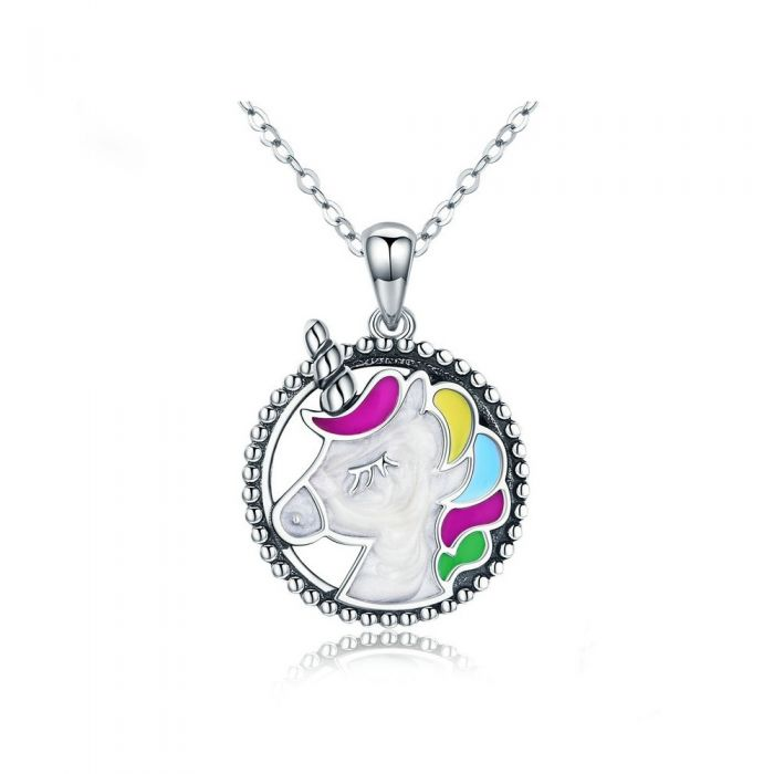 Image for Unicorn Pendant in Multicolor Enamel and 925 Silver