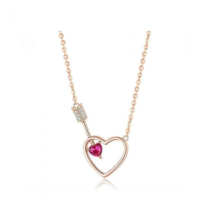 Image for Arrow and love pink Swarovski crystals necklace
