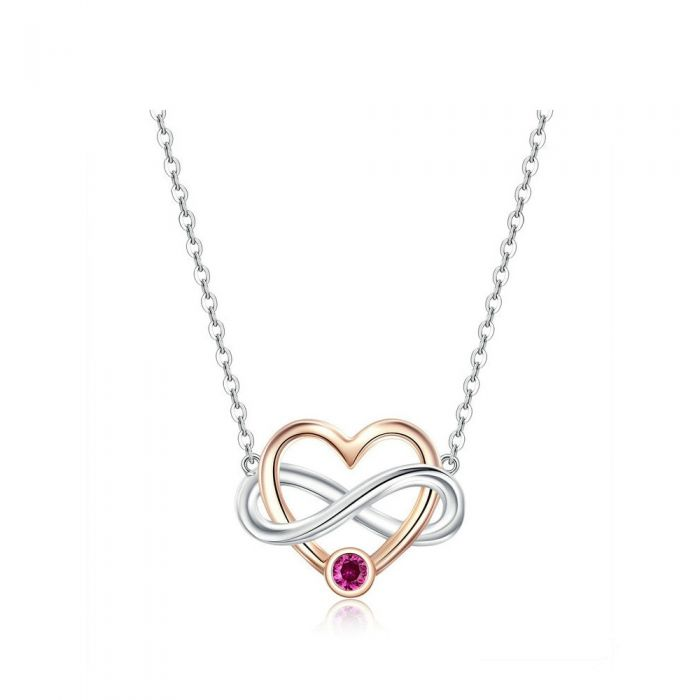 Image for Necklace Heart and Infinity made with Pink Crystal from Swarovski and 925 Silver