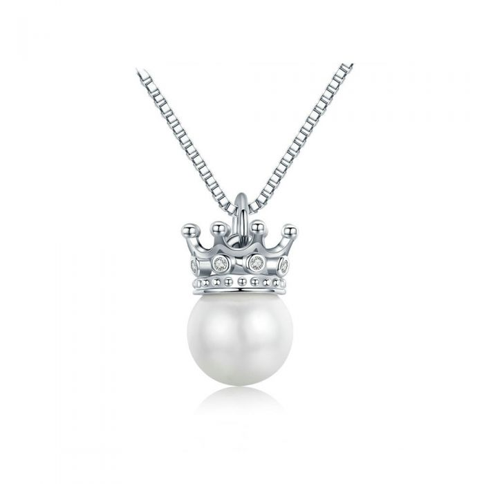 Image for White Swarovski crystals pearl and crown necklace