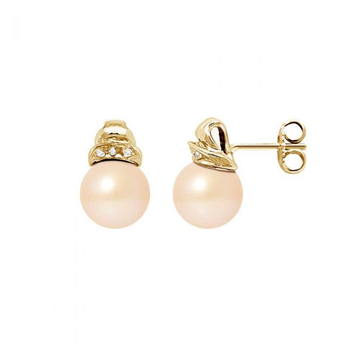 Image for Pink freshwater pearl and diamond earrings
