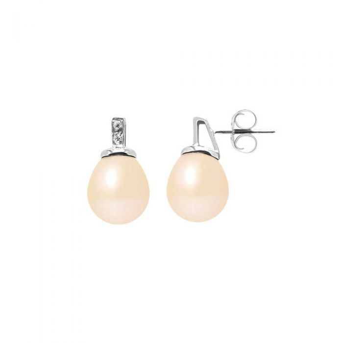 Image for Pink Freshwater Pearls, Diamonds Earrings and White gold 750/1000
