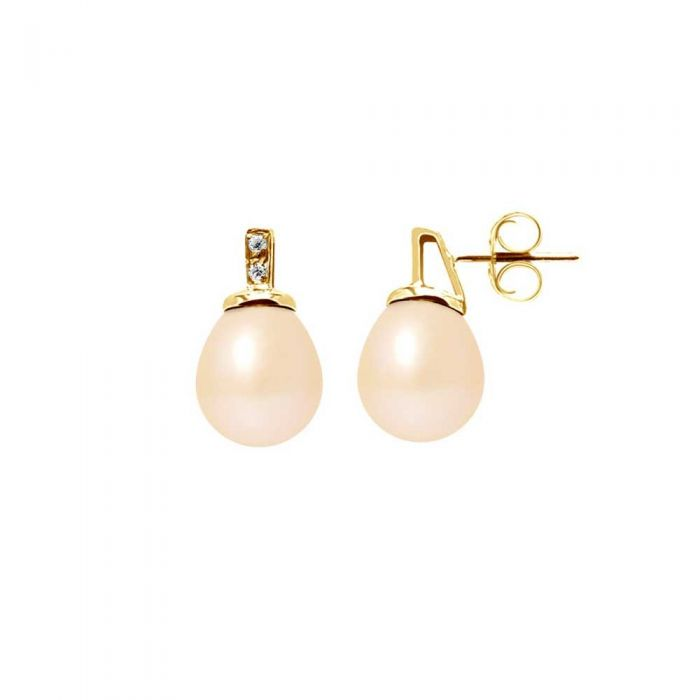 Image for Yellow gold pink freshwater pearl and diamond earrings