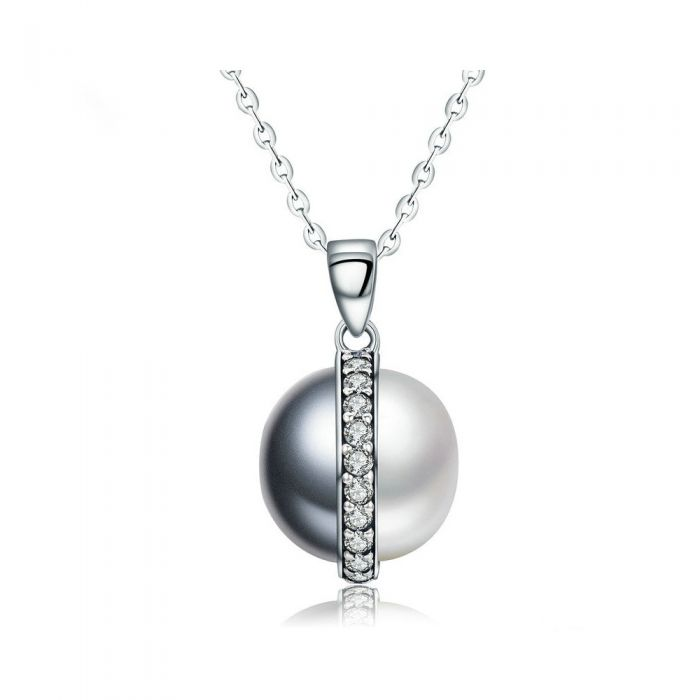 Image for Black and White pearl and Swarovski crystals necklace