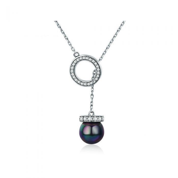 Image for Black pearl and Swarovski crystals necklace