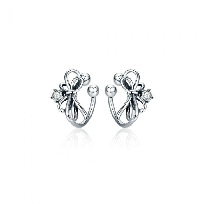 Image for White Swarovski crystals knot clip-on earrings