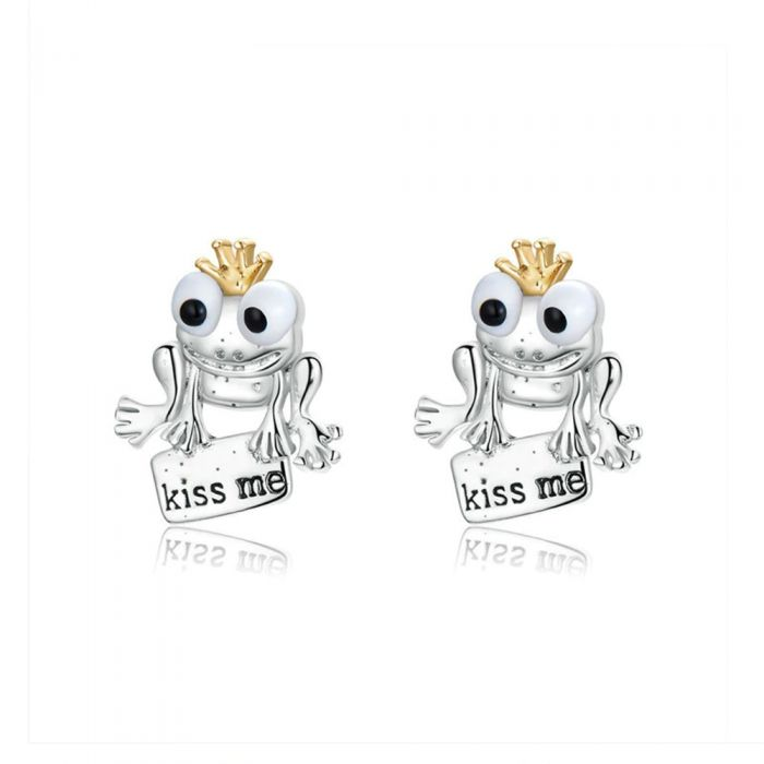 Image for Frog and Kiss me Earrings 925 Silver