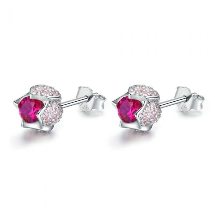 Image for Pink Swarovski crystals tulip earrings
