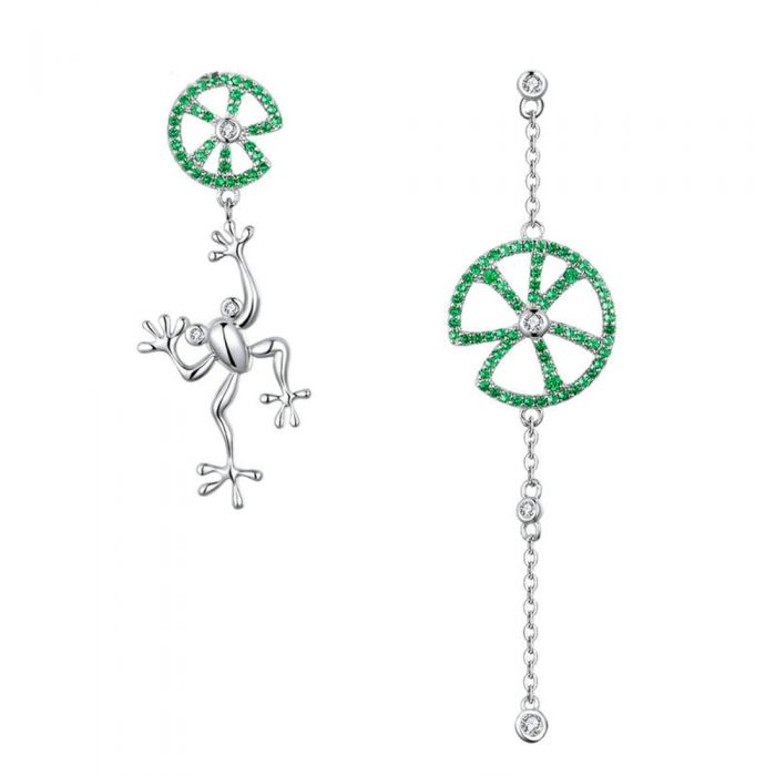 Image for Frog Dangling Earrings made with Green Crystal from Swarovski and 925 Silver