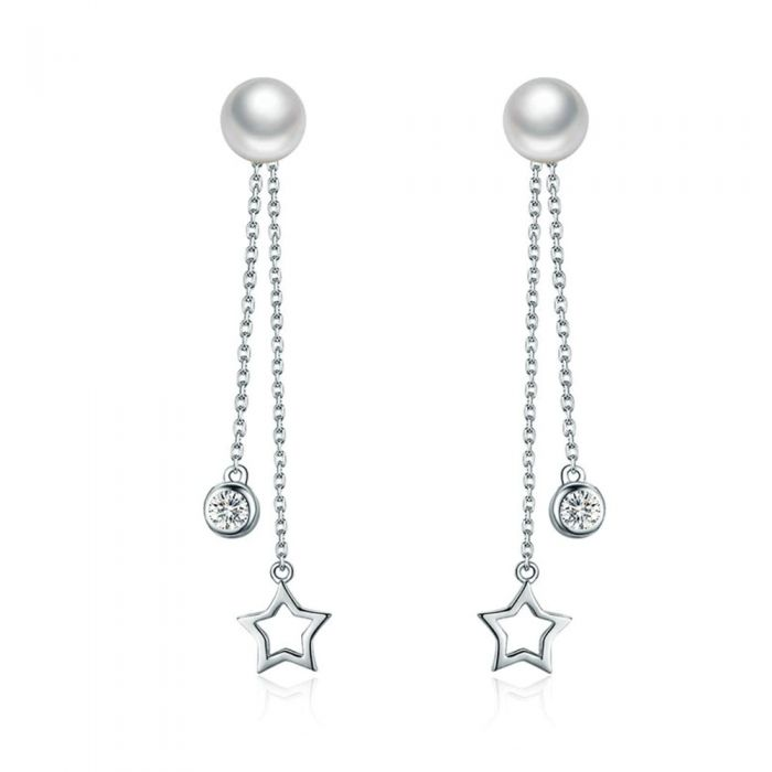 Image for Dangling Earrings Star made with White Crystal from Swarovski, Pearl and 925 Silver