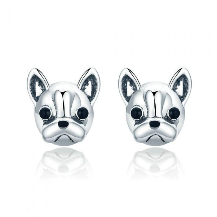 Image for Bulldog dog 925 Silver Womens Earrings