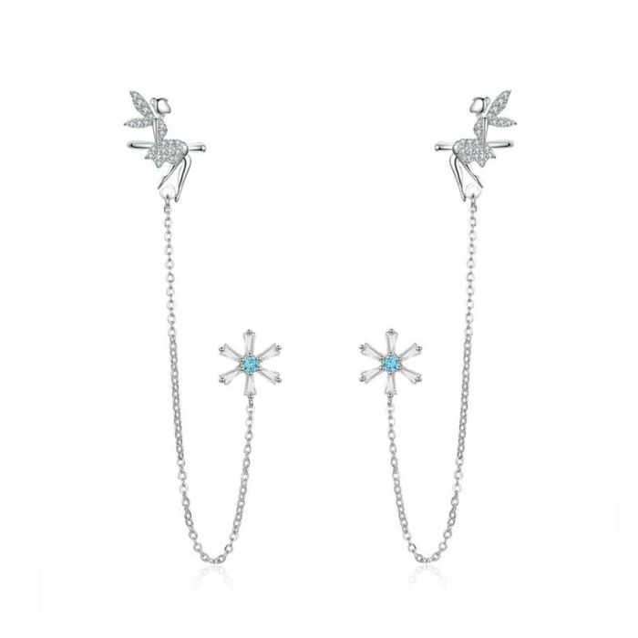 Image for Blue Swarovski crystals fairy clip-on earrings