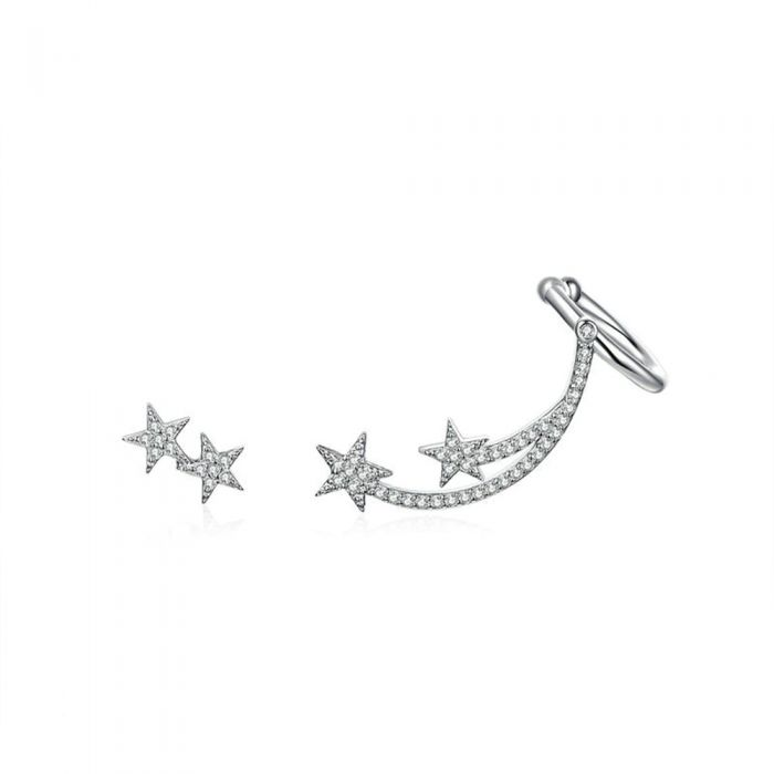 Image for White Swarovski crystals star earrings